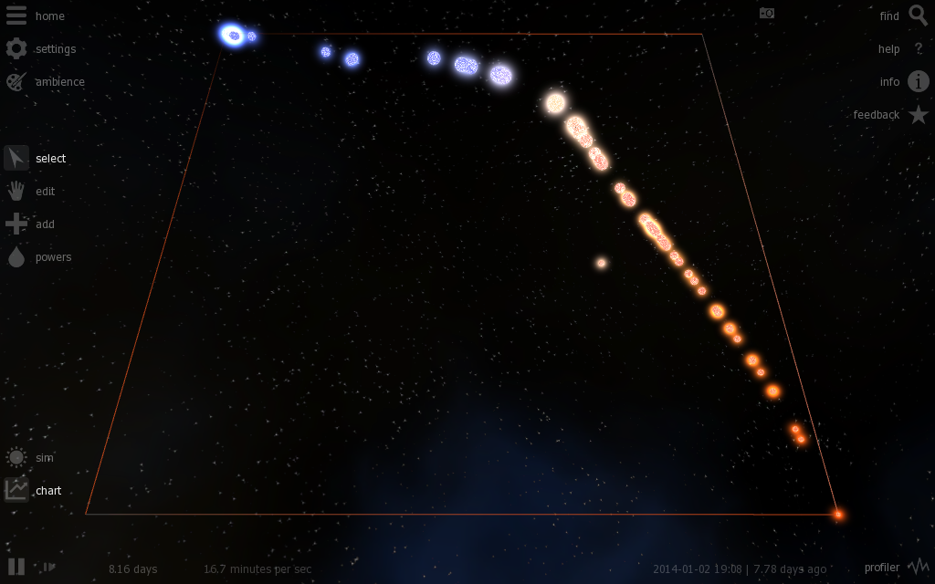 Hertzsprung–Russell diagram in Universe Sandbox. The HR Diagram (star's temperature versus luminosity) was introduced in the early 20th century and helped pave the way for a better understanding of stellar evolution.