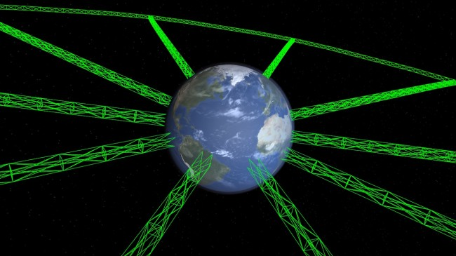 A megastructure around Earth. The green lines are the current, early rendering which will be improved.