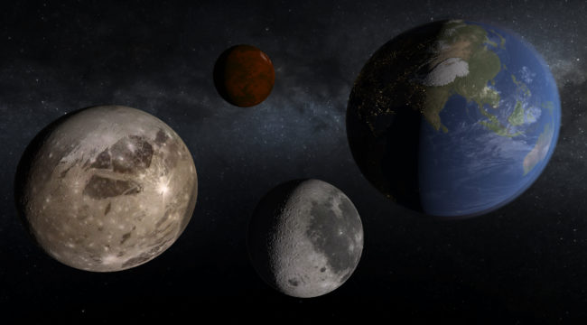 Updated textures and coloring for Ganymede, Sedna, the Moon, and Earth's city lights