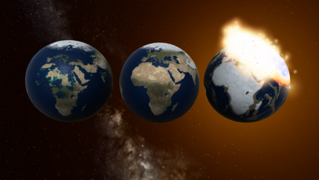 Three Earths with varying sea levels, one being impacted by a stray moon.
