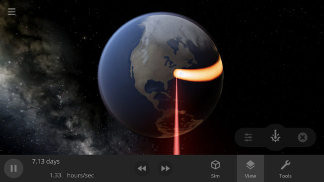 Screenshot of the laser tool on Earth in Universe Sandbox on a smartphone.